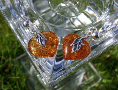 Amber Silver Earrings to stick ES7241